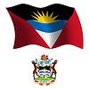 Antigua und Barbuda wellig Flagge und Wappen