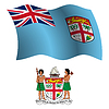 Fidschi wellig Flagge und Wappen