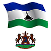 Lesotho wellig Flagge und Wappen