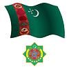 Turkmenistan wellig Flagge und Wappen