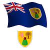 Turks-und Caicosinseln wellig Flagge und Wappen