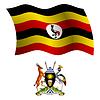 Uganda wellig Flagge und Wappen