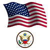 United states wavy flag and coat | Stock Vector Graphics