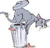 Мультяшный кот и мусорный бак | Векторный клипарт