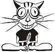Счастливый кот и рыба | Векторный клипарт