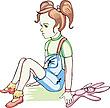 Smutna dziewczyna z królików zabawki | Stock Vector Graphics