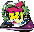 DJ Design mit Rekord Vinyl und Ohrhörer