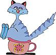 Katze pisst auf einem Topf | Stock Vektrografik