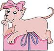 Розовая собачка - подарок | Векторный клипарт