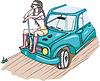 Armed Mädchen sitzen auf dem Auto