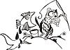 Мультяшный кот рыбачит | Векторный клипарт