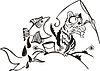 Katze angelt. Karikatur | Stock Vektrografik