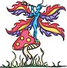 Fee Elfe auf Pilz mit Monokulartubus