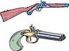 Alte Pistole und Gewehr