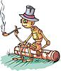 Roboter sitzt und raucht Pfeife