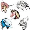 Köpfe von Wolf, Eisbär, Einhorn, Pferd und Stier
