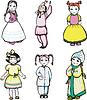 sechs kleine Mädchen