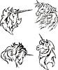 Vier Skizzen der Einhörner