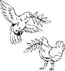 Tauben mit Oliven-Filialen