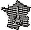 Contour von Frankreich mit Eiffelturm