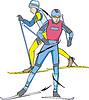 Skilaufen. Skifahrer