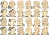Japanische Manga von Hokusai - Ältere Menschen | Stock Vektrografik