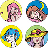 Round Porträts von jungen netten Frauen