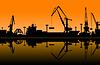 Векторный клипарт: Рабочие кранов в морском порту