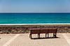 ID 3826236 | Pokład ławka z pięknym widokiem na morze | Foto stockowe wysokiej rozdzielczości | KLIPARTO
