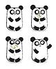 Reihe von niedlichen Pandabären