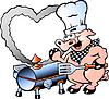 Hand gezeichnet ein Chef Pig machen BBQ