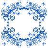蓝色花卉框架与蝴蝶 | 向量插图