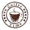 Kaffee-Zeit Grunge Stempel mit Tasse