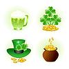 Satz von vier glänzend Icons für patrick Tag Feier