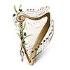 Holz Harfe und Oliven