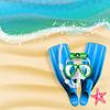 Taucherbrille, cam, Rohr und Seesterne am Strand