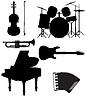 Набор иконок силуэты музыкальных инструментов | Векторный клипарт