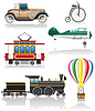 set icons retro Transport