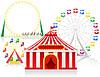 Zirkuszelt und Attraktionen