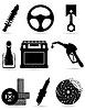 Set Icons mit Autoersatzteilen schwarze Silhouette
