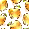 Nahtlose Muster mit gelben Apfel
