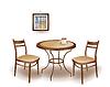 von runden Tisch und Stühlen