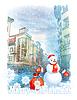 Weihnachts-Grußkarte mit Schneemann