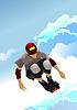 Aktive Rolle Junge springt auf Hintergrund des blauen Himmels.