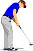 Golfer schlagen Ball mit Eisen-Club