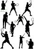 Große Sammlung von Silhouetten Tennisspieler
