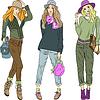 schöne Mode Mädchen Topmodelle Hüte und Hosen