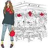 파리의 배경에 사랑스러운 유행 소녀 | Stock Vector Graphics