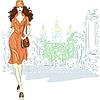 schöne Mode Mädchen geht für St. Petersburg