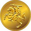 Gold Geld Münze mit der Aufladung Ritter zu Pferd